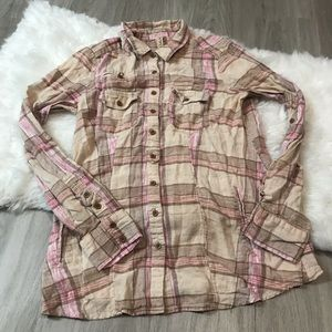 Free People Linen Blend Button Down Plaid Shirt M